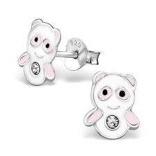 Argento Sterling 925 Panda Orecchini Cristallo A Perno Natale Rosa & Bianco
