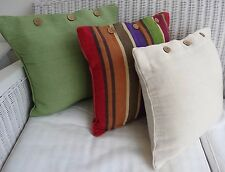 SET OF 3 CUSHION COVERS 40 X 40 - 1 STRIPED & 2 PLAIN DYED - GREENS, PURPLE