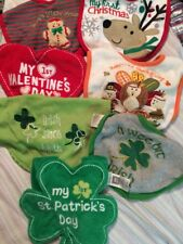 7 Bib Lot Infant Baby Holiday Valentine Christmas St Patricks Thanksgiving 1st