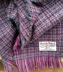 Harris Tweed Scarf Smokey Pink Gold Slate Purple Grey Rose Black Wool Check Fine