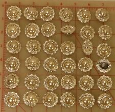 """36 Czech double layer silver metal shank rhinestone buttons glass pearl 1"""" 320"""