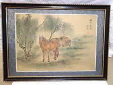 vintage Japanese painting on Silk, framed art work,horses under the willows