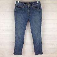 St. John's Bay Womens Size 6 Bootcut Blue Rain Wash Embroidered Capri Jeans