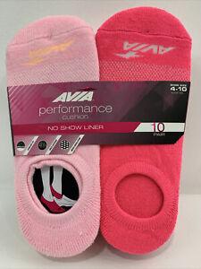 AVIA Women's Performance Cushion No Show Liner Sock 10 Pair Size 4-10 NEW