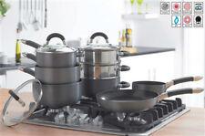 Hard Anodised Black Non Stick Aluminium 8 pc Pan Set Steamers Frying Pan
