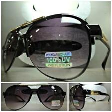 CLASSIC VINTAGE 70's RETRO Style SUN GLASSES SHADES Black & Gold Fashion Frame