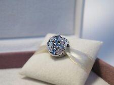 New w/Box & Tag Pandora Patterns of Frost Blue & Clear CZ's Charm #791995NMBMX