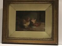 Late 19th Century Oil on Board...Chickens in Barn...Signed H. Jackson