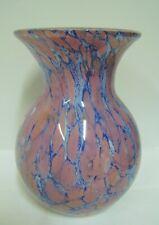 Vase Glass Pink Marble Effect Blue Art Deco