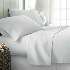 "Bed Sheet Set 4 Pc 500 Tc 100% Egyptian Cotton Queen 18"" Drop White Solid Mdh"
