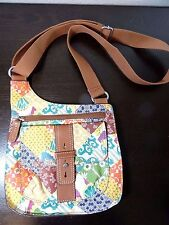 New FOSSIL Leather Multicolor Floral Cross-body Shoulder Handbag
