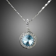 Made with Swarovski Crystal Blue Round White Gold Plated Chain Necklace Pendant