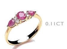 Anniversary Ruby Round Three-Stone Fine Rings