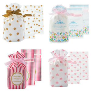 30pcs Plastic Candy Bag Soft Drawstring Bag 4-Pattern Gift Pouch Rectangle 8.7''
