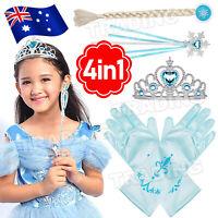 Frozen Crown Elsa Anna Kid Gift Wig Princess Wand Hair Tiara Braid Gloves NEW