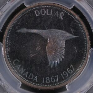 PCGS Graded PR66 - Canada 1967 Dollar $1 Proof World Silver Coin Blue Toned