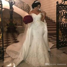 Full White Ivory Lace Mermaid Wedding Dresses With Detachable Train Off Shoulder