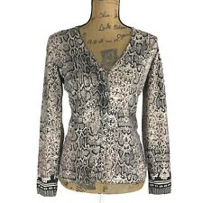 Chicos 0 S M Silk Bl Cardigan Sweater Knit Beige Black Brown Faux Lace Snake LN