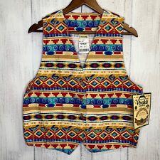Wm Sz M Vivaldi Jeanswear Western Southwest Cotton Vest Made In USA Equestrian