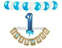 Happy 1st Birthday Balloons Bunting Banner Baby Boy First Birthday Party Decor
