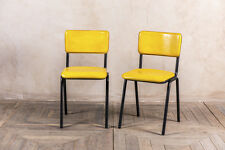 RETRO STYLE YELLOW DINING CHAIR BUFFALO LEATHER STACKING RESTAURANT CHAIR
