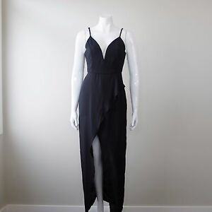 Loving Things Black Plunging High Split Maxi Dress Cocktail Size 10 NWT PX8