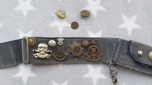 WWII World War 2 Naval Belt with Various Army Badges and Buttons