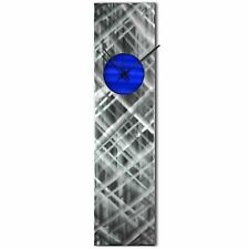 Modern Wall Clock Silver Home Decor Blue Metal Wall Art Abstract Kitchen Clock