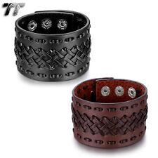 TT Punk Black Leather THICK Bracelet Wristband Ajust from 18-21cm (PK55)NEW
