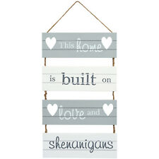 Home, Love & Shenanigans Wooden Hanging Sign - Shabby Chic Wall Door Grey White