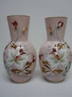 """PAIR OF ANTIQUE 11 1/2"""" HAND PAINTED BRISTOL GLASS VASES with FLOWERS"""