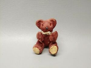Antique miniature mini teddy bear jointed dark brown with bow