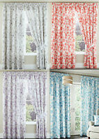 """Amelina Floral Flower 3"""" Tape Top Fully Lined Pair Curtains For Bed Room Lounge"""