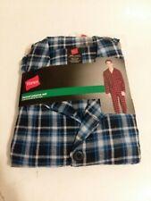 NWT Men's Hanes Flannel BLUE BLACK Plaid SMALL Pant Set Pajamas PJs 100% Cotton!