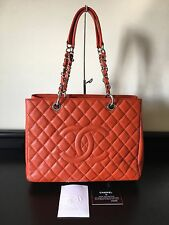 Chanel GST Grand Shopper Tote Orange Red Caviar Leather Silver Hardware
