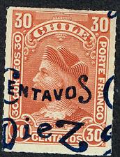 CHILE 1903 DISPLACED OVPD STAMP # 57f MH RULETEADO CABEZONES COLUMBUS