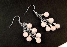 1 Pair of Platinum Plated Rose Quartz Gemstone Dangle Earrings #B39