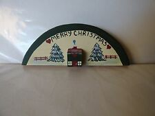 1986 Vintage MERRY CHRISTMAS Half Moon Wooden Stand Up Hand Painted Trees House