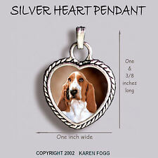 Basset Hound Dog - Ornate Heart Pendant Tibetan Silver