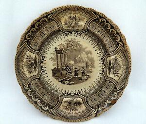 Antique Wood & Challinor Staffordshire England CORSICA Brown Transferware Plate