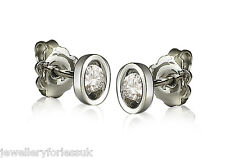 18Carat White Gold Natural Round Diamond Solitaire Studs 0.28ct GSI
