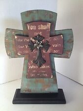 "H&H Designs Distressed Turquoise, Brown, Bronze Color Table Cross 13"" x 8"" NEW"