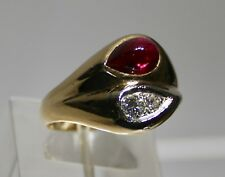 Vintage Gents 10 Karat Ring  Natural 25 point Diamond, Ruby Cabochon side stone