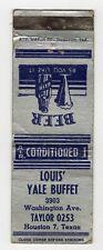 Louis Yale Buffet Washington Avenue Houston Texas Vintage Matchbook Cover B33