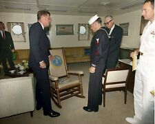 President John F. Kennedy receives rocking chair USS Kitty Hawk New 8x10 Photo
