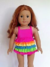"""Rainbow Ruffle Swimsuit Fits American Girl 18"""" Doll Clothes"""