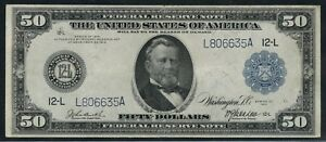 FR1068 $50 1914 FRN CHOICE VF+ (ONLY 102 RECORDED) HW3891