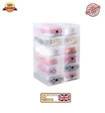 10x Clear Shoe Boxes Shoe Storage Shoe Box Shoe Organiser Transparent Plastic