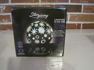 """EVERGREEN STARGAZING LED LIGHTED GLASS ORB GLOBE 6"""" TALL 3 FUNCTION SWITCH--NEW"""