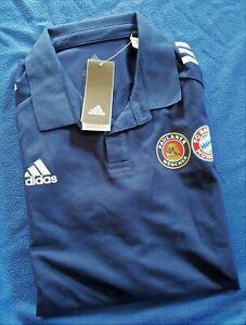 Adidas Poloshirt FC Bayern München und Paulaner Farbe: Blau Gr. L